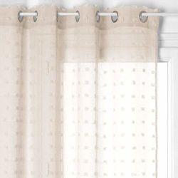 Gotowa zasłona na kółkach ze zdobieniami, beżowa zasłonka na okno o nowoczesnym wyglądzie (3560234529182)