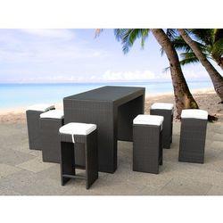Beliani Rattanowy zestaw mebli ogrodowych stół 6 stołków barowych verona, kategoria: zestawy ogrodowe