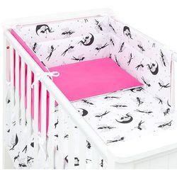 MAMO-TATO 3-el dwustronna pościel dla niemowląt Wróżki czarne / ciemny róż do łóżeczka 70x140 cm