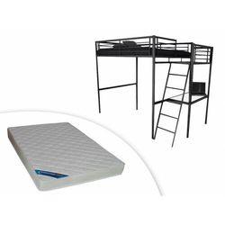 Łóżko antresola casual – blat biurka – kolor antracytowy i piankowy materac zeus 140 × 190 cm marki Vente-unique