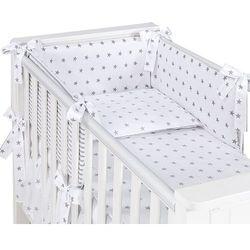 MAMO-TATO dwustronna rozbieralna pościel 3-el Gwiazdki szare na bieli / pasy szare do łóżeczka 60x120cm