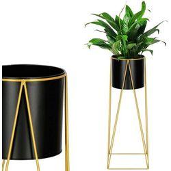Springos Stojak na kwiaty 70 cm z doniczką nowoczesny kwietnik loft czarno-złoty mat