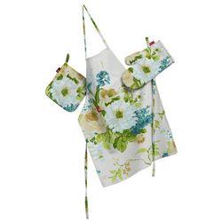 Dekoria Komplet kuchenny łapacz, rękawica oraz fartuch, niebieskie kwiaty na białym tle, kpl, Mirella