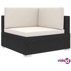 siedzisko narożne z poduszką, polirattan, czarne marki Vidaxl