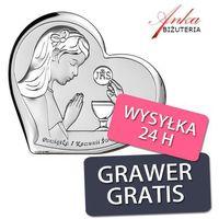 Pamiątka dla dziewczynki na komunię - obrazek srebrny 11*6,9 cm marki Valenti & co