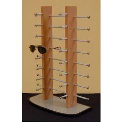 stojak na okulary 16par - podwójny, drewnopodobny na szarej podstawie, 00855