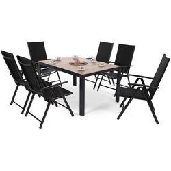 Home & garden Meble ogrodowe aluminiowe capri 145 cm black / sand ibiza basic black / black 6+1 (5902425328439)