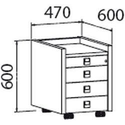 B2b partner Mobilny kontener assist - 4-szufladowy, przeszklony, dąb jasny
