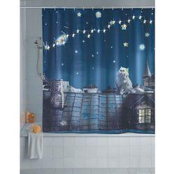 Wenko Zasłona prysznicowa, tekstylna moon cat z oświetleniem led, 180 x 200 cm,