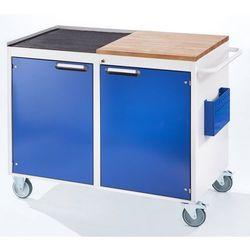 Stół warsztatowy, ruchomy, 2 drzwi, powierzchnia robocza: drewno / metal, jasnos