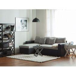 Sofa narożna tapicerowana szary melanż z funkcją spania TAMPERE