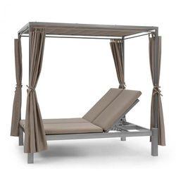 eremitage double sunbed, łożko do opalania dla 2 osób, stalowe ramy zasłonki taupe marki Blumfeldt