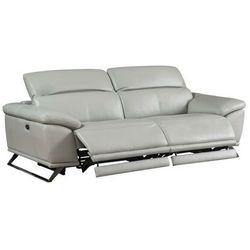 Vente-unique.pl 3-osobowa elektryczna sofa relaksacyjna ze skóry azidee - kolor jasnoszary