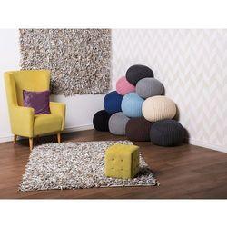 Dywan jasnobeżowy - shaggy - skórzany - mata - 140x200 cm - mut marki Beliani