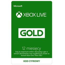 Microsoft Xbox Live Gold 12 z kategorii Kody i karty pre-paid