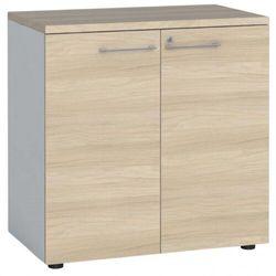 Szafa biurowa z drzwiami, 740 x 800 x 420 mm, biały/dąb naturalny marki B2b partner