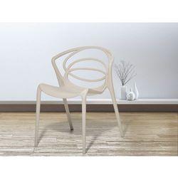 Beliani Krzesło do ogrodu beżowe- krzesło do jadalni, do salonu - bend