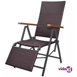 Vidaxl rozkładane krzesło tarasowe, polirattan, brązowe (8718475503705)