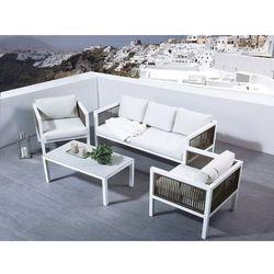 Beliani Zestaw ogrodowy aluminiowy biały 5-osobowy borello (4251682204224)