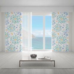 Zasłona okienna na wymiar - VINTAGE FLOWERS TURQOUISE II