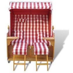 vidaXL Fotel plażowy, czerwono-biały, dwuosobowy - produkt z kategorii- Leżaki ogrodowe