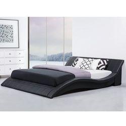 Łóżko skórzane 180x200 cm w kolorze czarnym - ze stelażem - VICHY, kolor czarny
