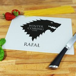 Winter is Coming Stark - deska do krojenia - Deska szklana 25 na 20 cm