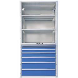 Lista Regał z szufladami, 3 półki uniwersalne, 2 półki przestawne, 7 szuflady, przęsło