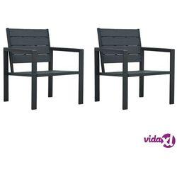 vidaXL Krzesła ogrodowe, 2 szt., szare, HDPE o wyglądzie drewna (8719883751542)