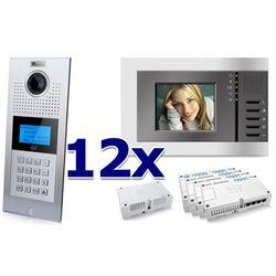 Zestaw wideodomofonowy 12 rodzinny panel c5 c9e21l-c, 12x monitor c5 v3, akcesoria marki Genway