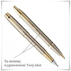 Zestaw długopis i pióro Parker IM Brushed Metal GT z opcją graweru z kategorii Na imieniny dla męża