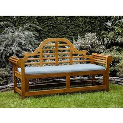 Ławka ogrodowa drewniana 180 cm poducha jasnoniebieska JAVA Marlboro