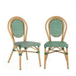Blumfeldt montpellier gr krzesło możliwość ułożenia jedno na drugim rama aluminiowa polirattan zielony