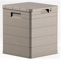 Pojemnik 90 L, beżowa skrzynia na pościel, ogrodowy kufer plastikowy, skrzynia do przedpokoju, pojemnik do przechowywania z pokrywką (8009371017336)