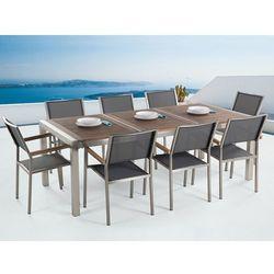 Meble ogrodowe - stół ze stali nierdzewnej 220 cm z drewnianym blatem z 8 szarymi krzesłami - GROSSETO (7081454697599)