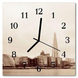Zegar szklany kwadratowy Miasto czarno-białe