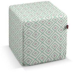 Dekoria Pufa kostka, szaro- miętowe romby na białym tle, 40 × 40 × 40 cm, Geometric, kolor zielony
