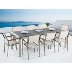 Meble ogrodowe - stół granitowy 220 cm czarny palony z 8 białymi krzesłami - GROSSETO (7081452615342)