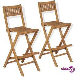 Vidaxl ogrodowe krzesła barowe, 2 szt., drewno tekowe, 39,5x61x114 cm (8718475581000)