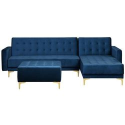 Sofa rozkładana welur ciemnoniebieska lewostronna z otomaną ABERDEEN