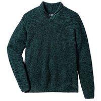 Sweter z szalowym kołnierzem Regular Fit bonprix ciemnozielony melanż