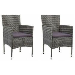 Komplet szarych krzeseł ogrodowych - emiko 3x marki Elior