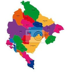 Naklejka Mapa podziału administracyjnego Czarnogóry - sprawdź w REDRO