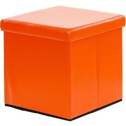 POMARAŃCZOWA SKŁADANA PUFA CUBE SIEDZISKO KUFER FOTEL - Pomarańczowy (40040322)