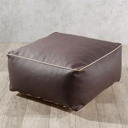 Dekoria pufa miękka ze sznurkiem, ciemnobrązowy (eko-skóra), 65x65x30cm, Eco-leather do -30%