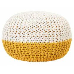Elior Okrągły biało-żółty puf bawełniany - iwor