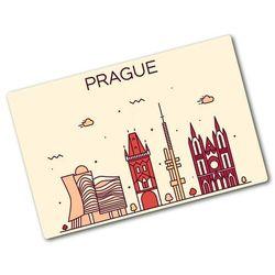 Deska kuchenna szklana Praga budynki Mapy i flagi