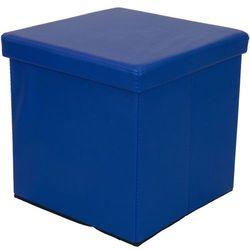 NIEBIESKA SKŁADANA PUFA CUBE SIEDZISKO KUFER FOTEL - Niebieski, kolor niebieski