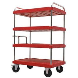 Wózek piętrowy do dużych obciążeń, dł. x szer. 1200x800 mm, nośność 500 kg, czer