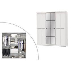 Szafa z lustrem wilhelm - 6 drzwi - dł.203 cm - kolor: biały marki Vente-unique
